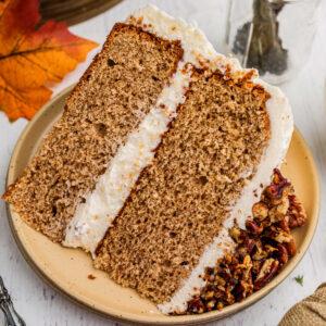 A slice of homemade cake on a plate.