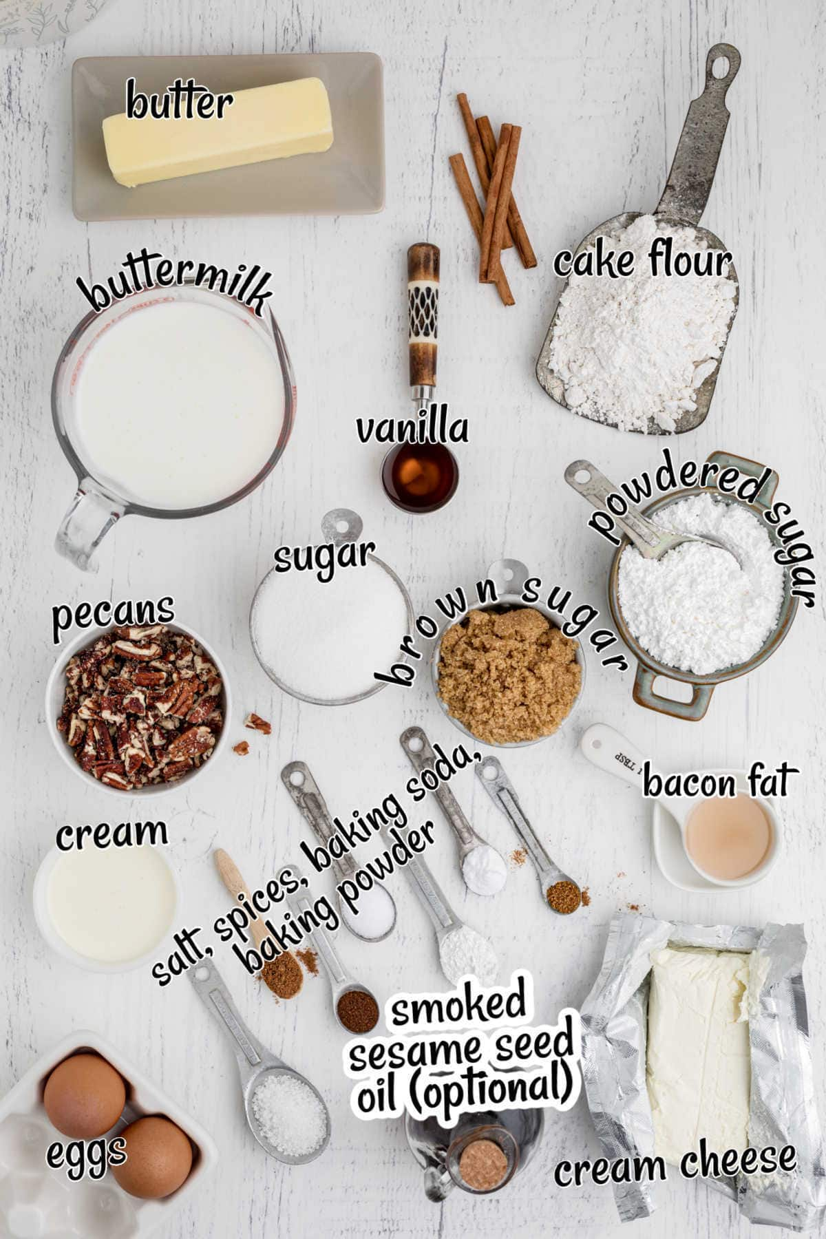 Labeled ingredients for homemade spice cake.