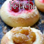 Apple and cherry kolache on a tray with text overlay for Pinterest.