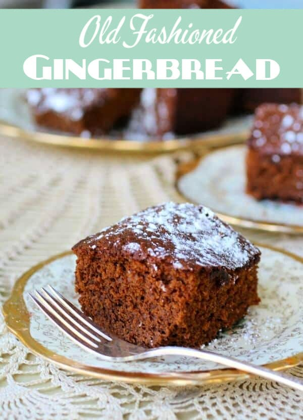 plate with a square of gingerbread on it - title text overlay