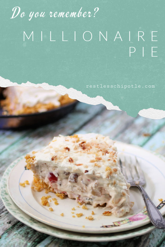 Easy, no bake Millionaire pie is a creamy dessert that\'s jam-packed with coconut, Maraschino cherries, pineapple, and toasted pecans. It\'s the perfect recipe for potlucks and other summer parties because it leaves you plenty of time to enjoy the party! #restlesschipotle #pie #nobake #recipes #best #easy #pineapple #coconut #cream #pecans #millionaire