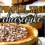 Pumkin cheesecake with pecans on top - text overlay for Pinterest