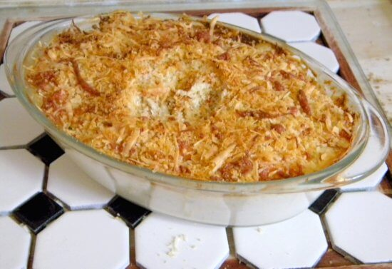 jalapeno popper dip with a crisp top crust.