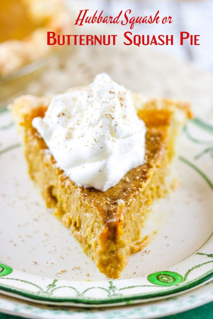 Slice of butternut squash pie with a scoop of whipped cream - title text overlay.
