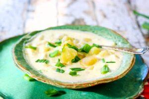 Close up of a bowl of potato soup showing pieces of chopped potato and green onions.