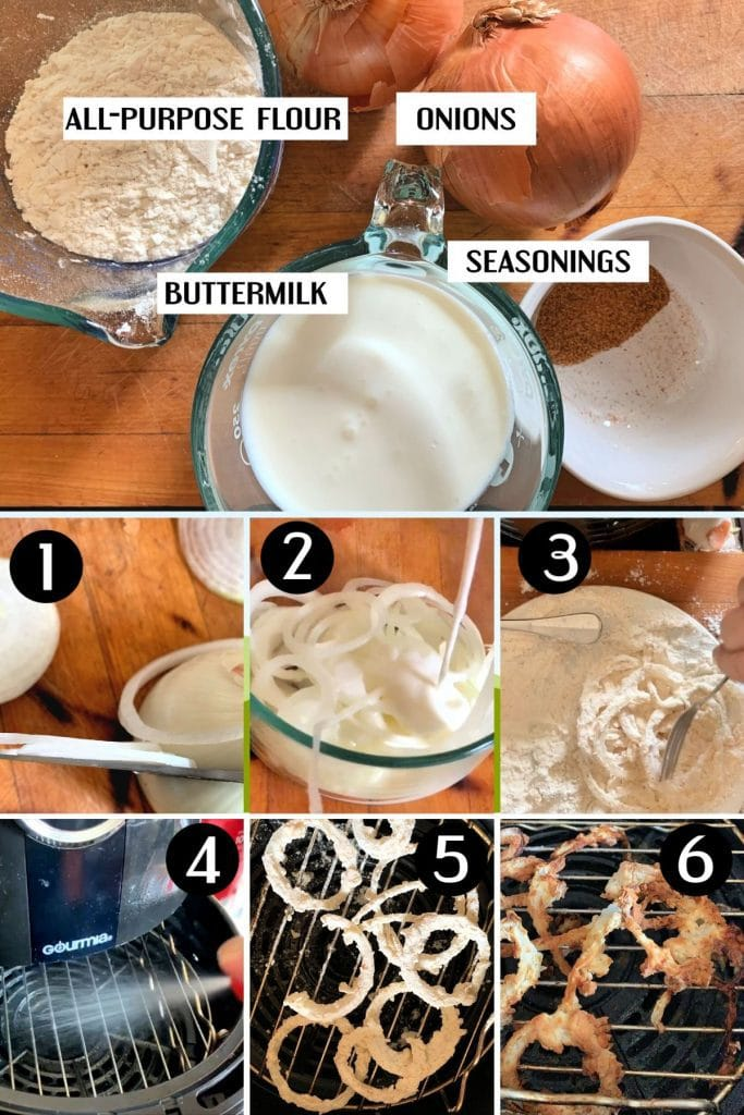 collage of images - how to make air fryer French fried onions step by step