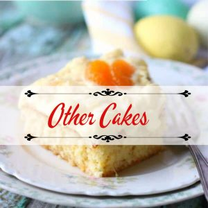 "square of orange sheet cake with title text overlay ""other cakes"""