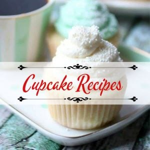 "white cupcake with sprinkles. Text overlay ""cupcake recipes"""
