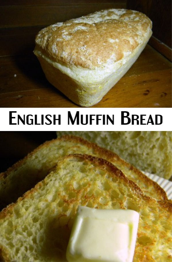 Collage with two images of english muffin bread and a title text overlay.