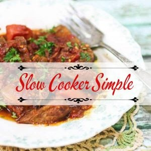cover image for slow cooker recipes - Swiss steak in a bowl.