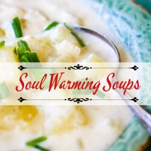 potato soup in a green bowl - title image for soup category