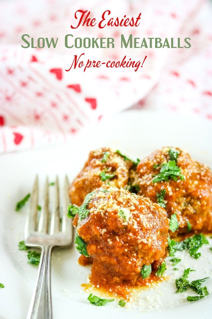 Plate of meatballs with parmesan and parsley sprinkled on the top. Title text overlay.