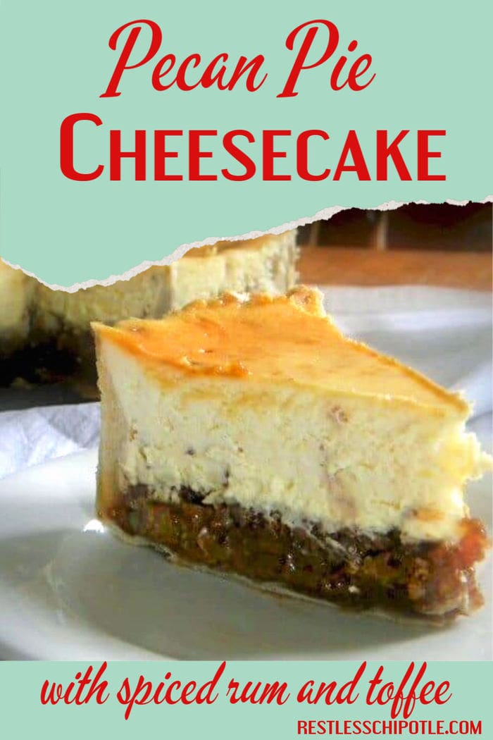Slice of pecan pie cheesecake with title text overlay