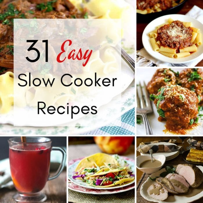A collage of slow cooker recipe images.