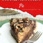 German chocolate pie with text overlay for pinterest