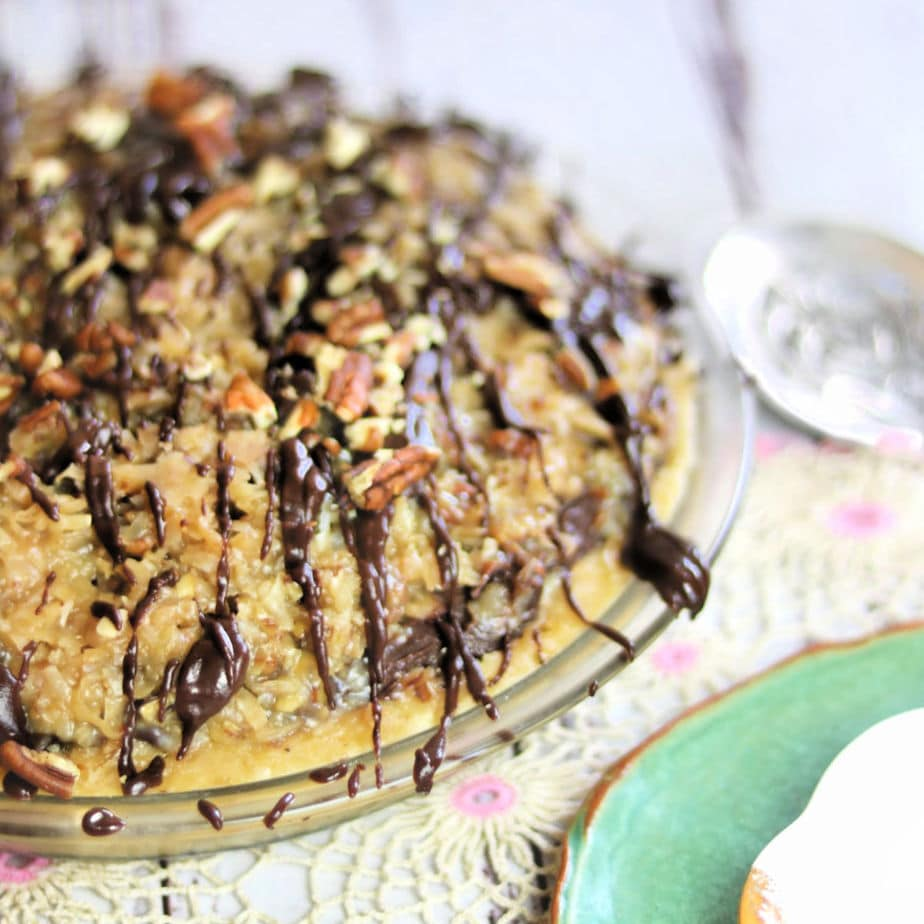Whole German chocolate pie showing the coconut pecan topping detail.