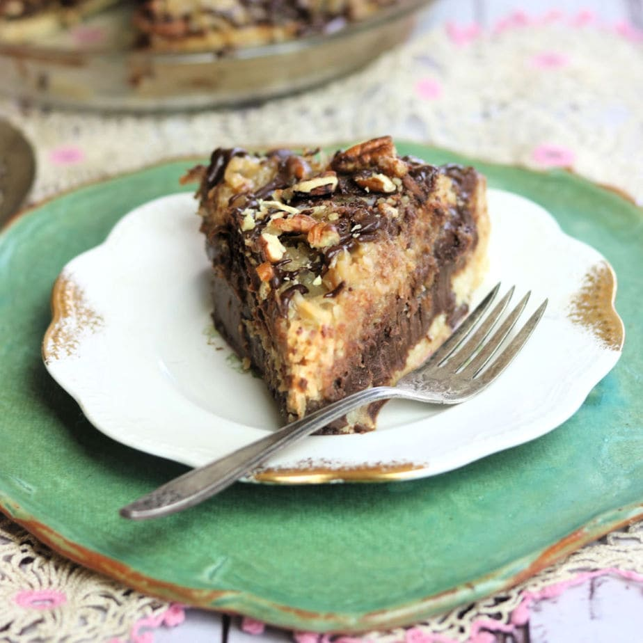 A slice of homemade German chocolate pie with a coconut pecan topping.