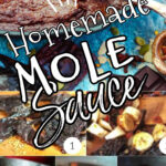 Mole sauce collage with text overlay for Pinterest.