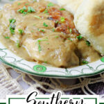 Chicken and gravy on a plate with a text overlay for Pinterest.
