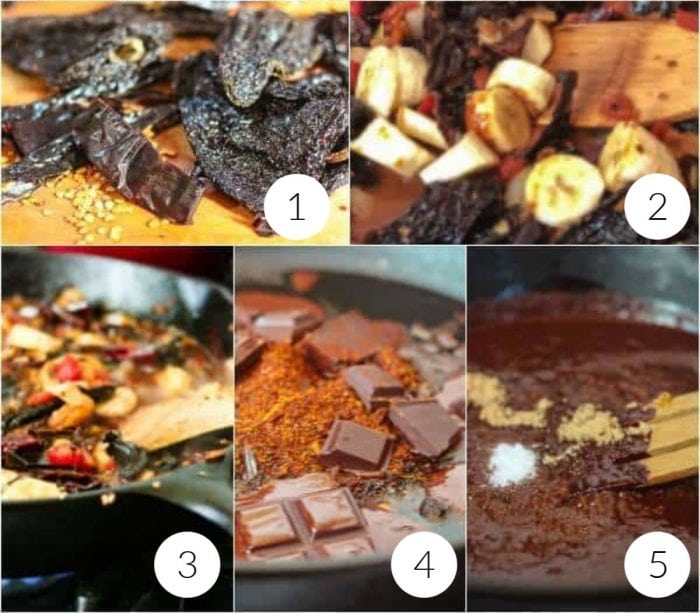 collage of step by step images illustrating how to make mole sauce