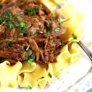 Beef and noodles on a vintage plate.