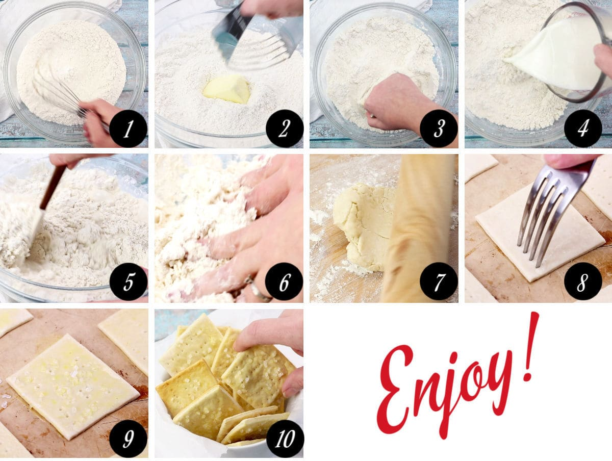Step by step images showing how to make saltine crackers