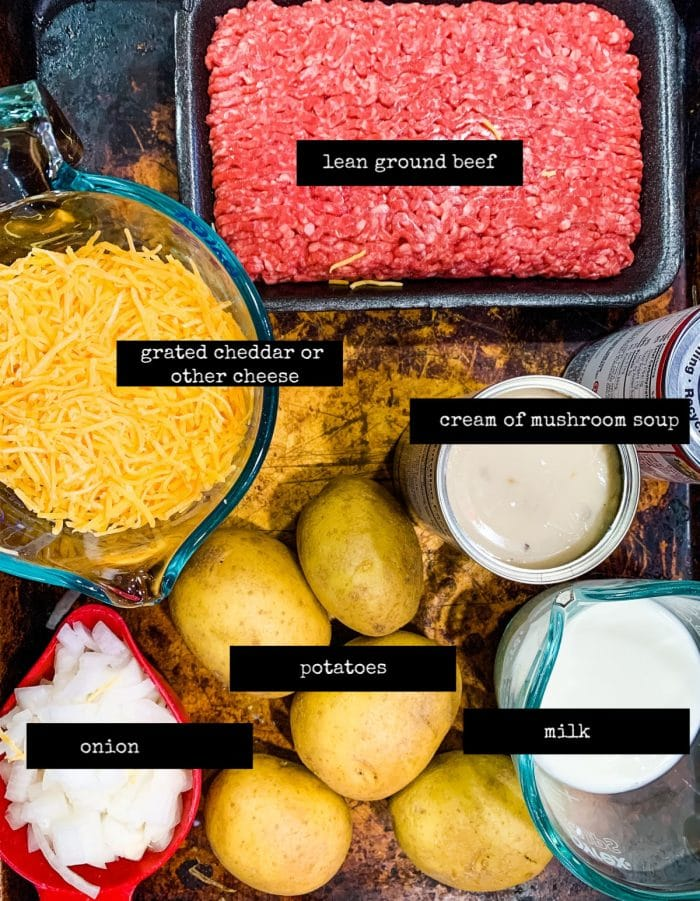 image of labeled ingredients for creamy beef skillet dinner