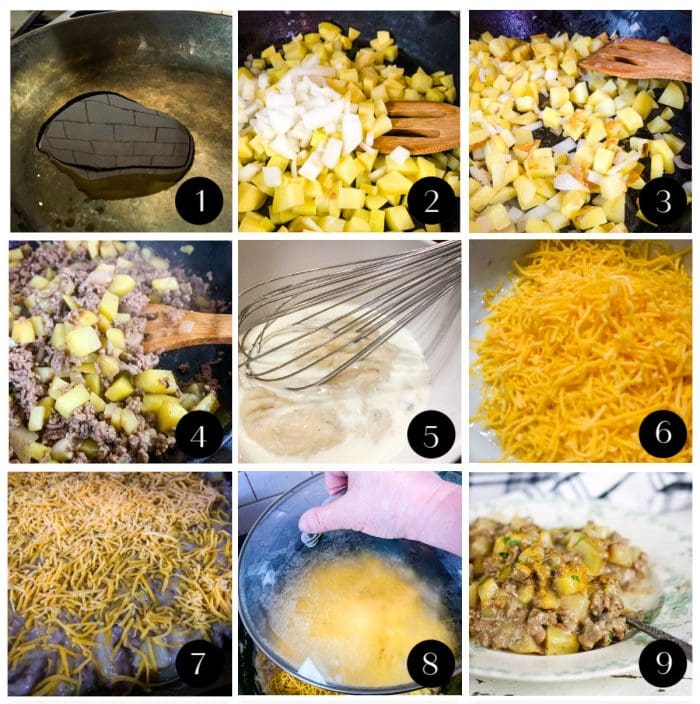 Step by step images for creamy beef and potato skillet dinner