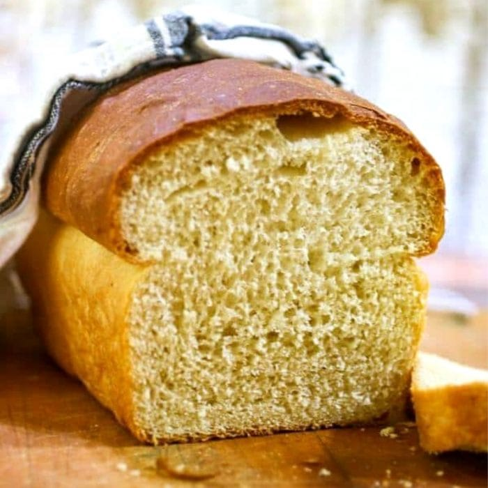 Buttermilk bread sliced to show texture.