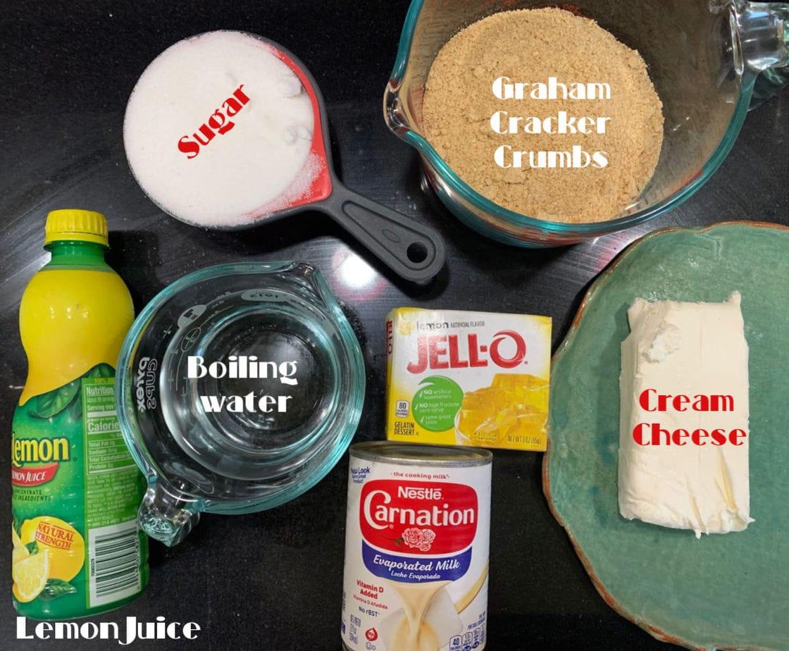 Ingredients for no bake lemon cheesecake.