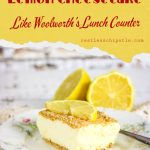 No Bake lemon cheesecake image with text overlay for pinterest