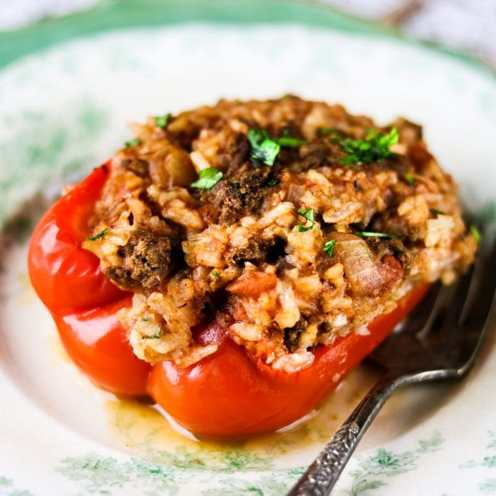 Stuffed peppers on a plate.