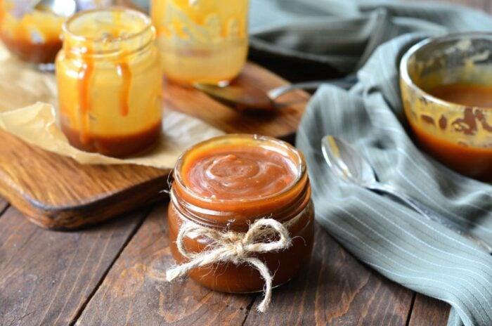Jar of finished caramel sauce.