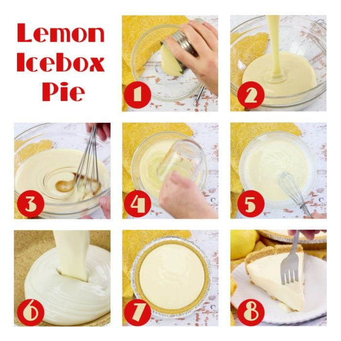 Step by step images for lemon icebox pie.