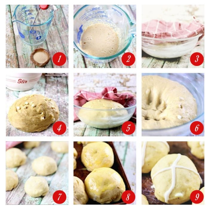 Step by step images showing how to make hot cross buns.