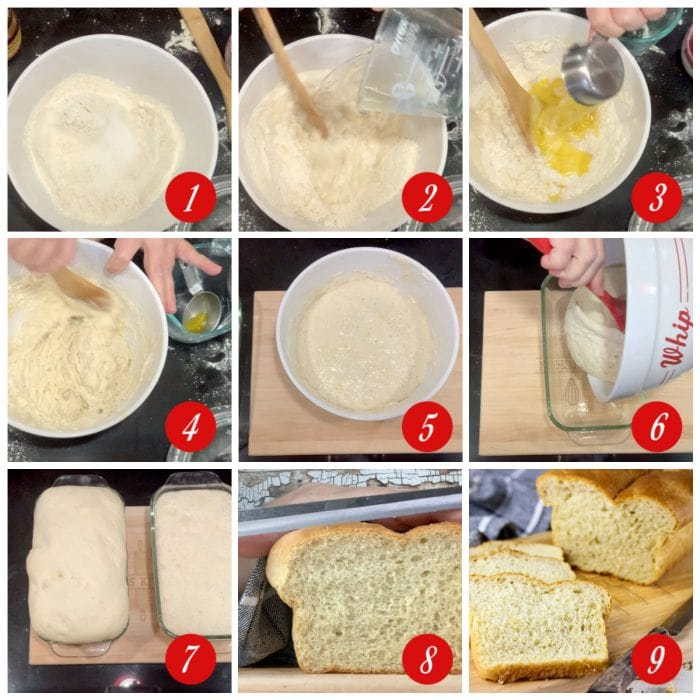Step by step images showing how to make batter bread.
