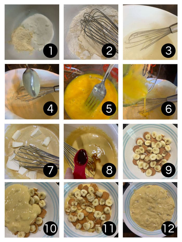 Step by step images showing how to make banana pudding.