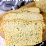No knead bread slices with text overlay for Pinterest