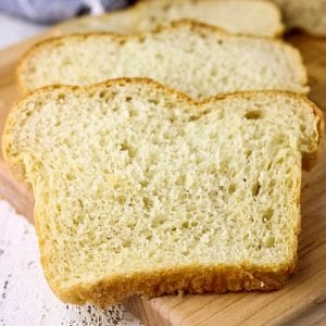 No knead yeast bread slices.