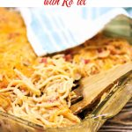 Casserole dish with baked chicken spaghetti in it.