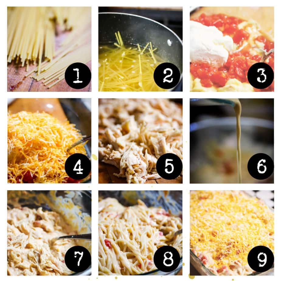 Step by step images for chicken spaghetti.