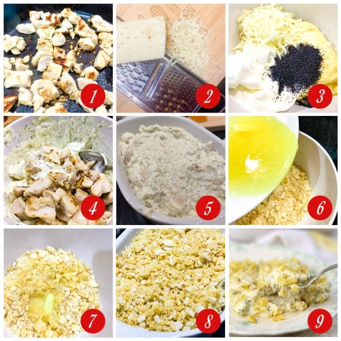 Step by step images showing how to make poppy seed chicken.
