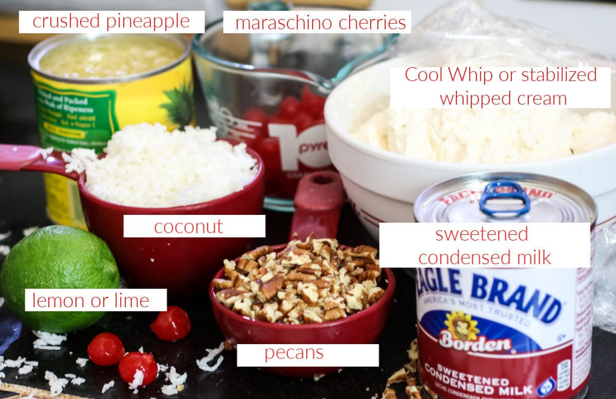 Labeled ingredients for pie.