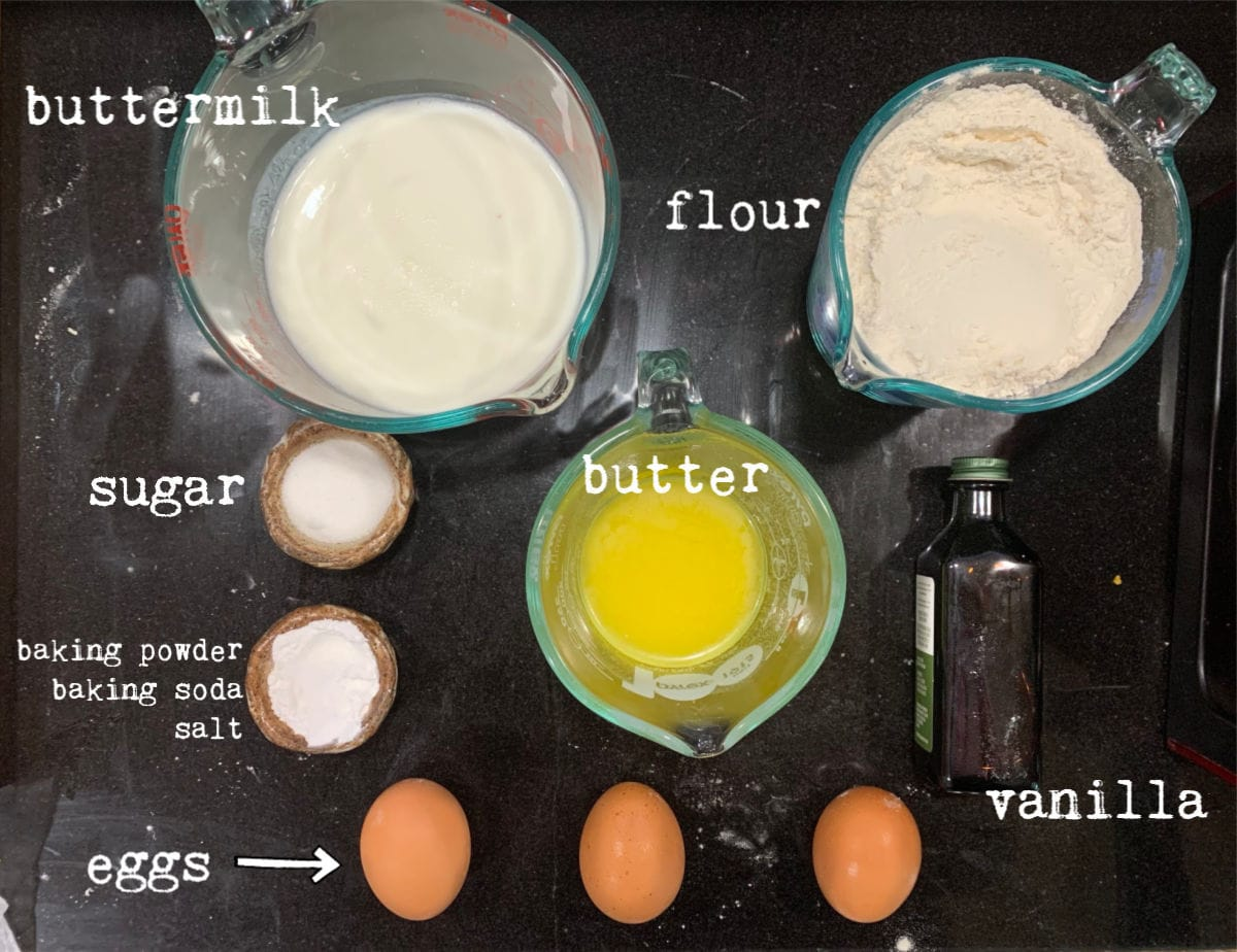 Ingredients for buttermilk waffles with labels.