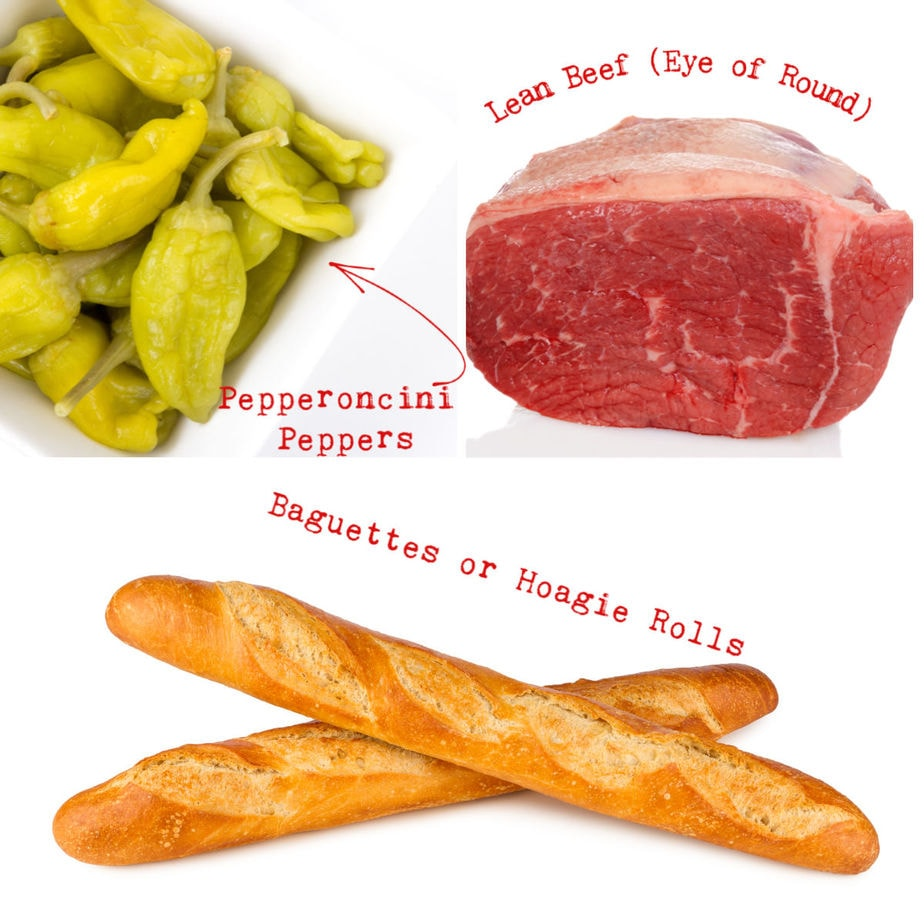 Ingredients for Italian Beef sandwiches.