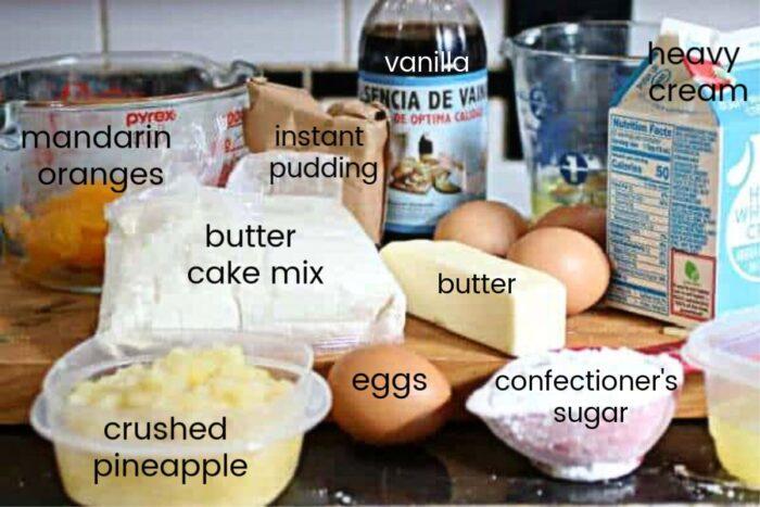 Ingredients for pig pickin' cake.