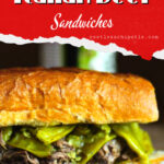 Italian beef sandwich with title text overlay for Pinterest