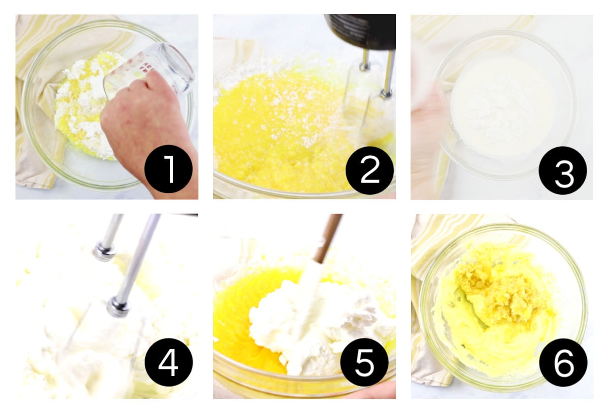Step by step images for pineapple whipped topping for the cake.