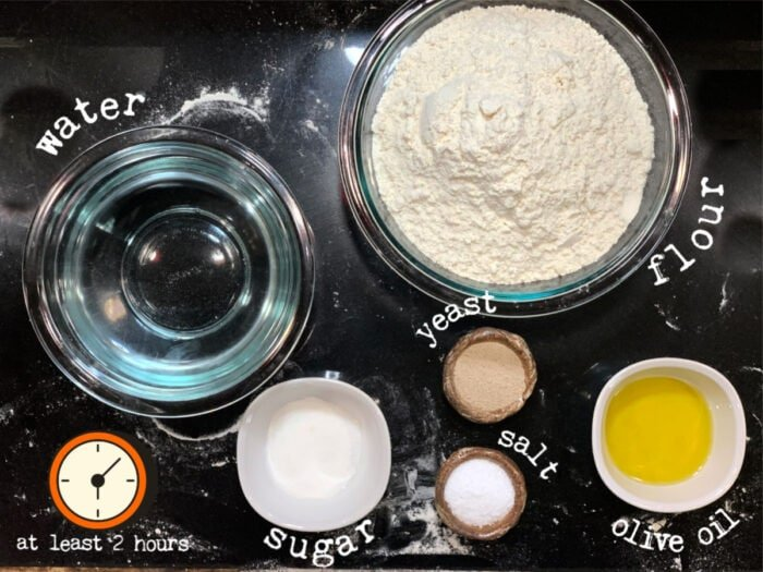 Ingredients for pizza dough recipe