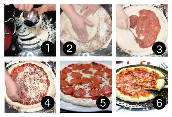 Steps to topping and baking homemade pizza